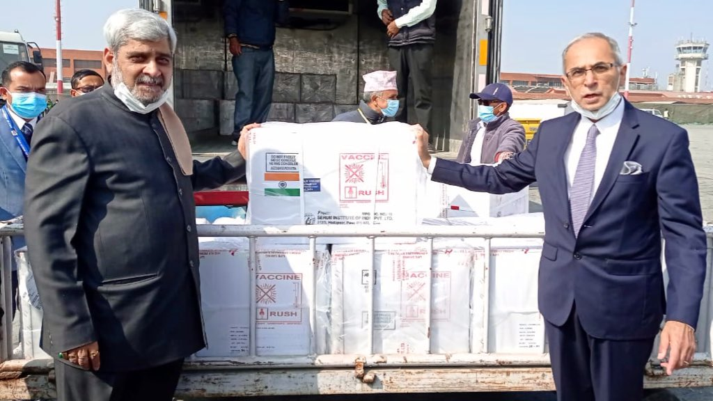 Nepal receives Indian vaccines. Putting neighbours first, putting people first!