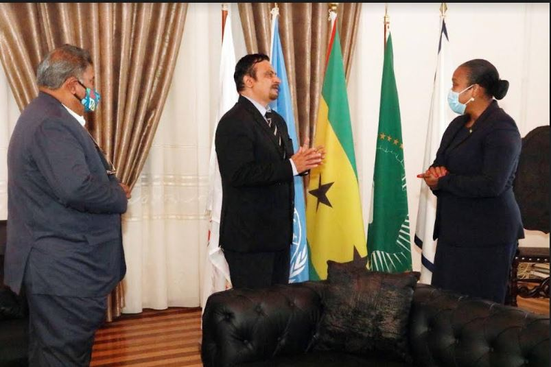 Ambassador Raghu Gururaj presented copy of Credentials to H.E. Ms. Edite do Ramos da Costa Ten-jua, Minister of Foreign Affairs, Cooperation and Communities of XVII Constitucional Government, São Tomé and Príncipe.